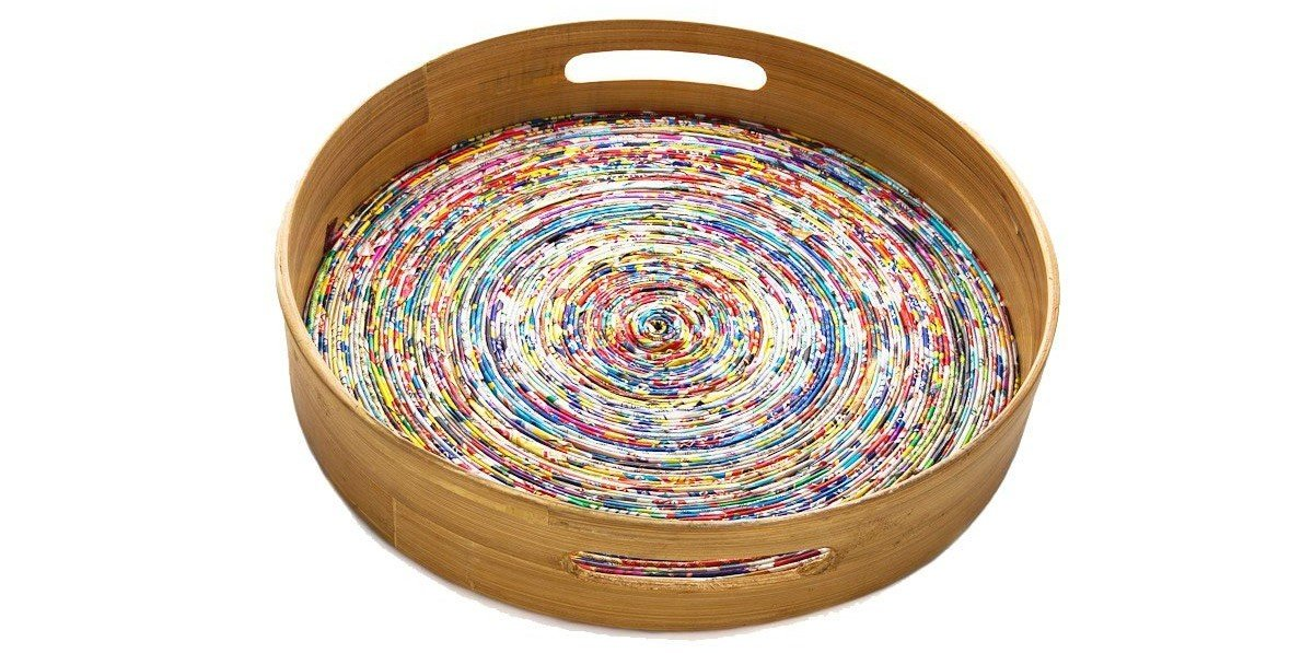 Fair Trade Recycled Paper and Bamboo Round Serving Tray