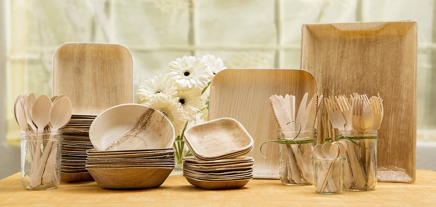 Natural Palm Leaf Dinnerware Set