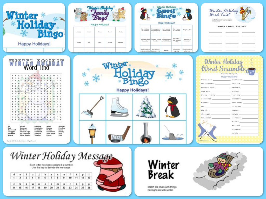 Winter Theme Printable Party Games