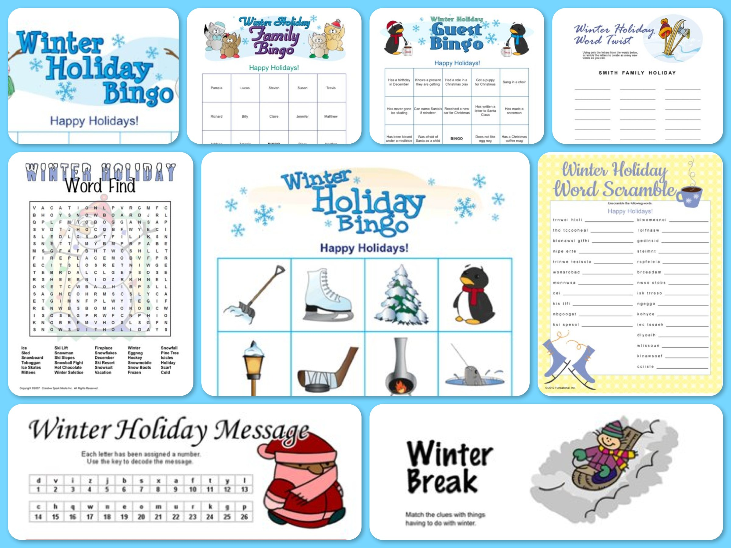 Printable games for your winter wonderland party