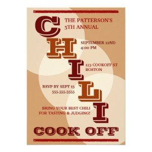 Big Bold Chili Cook Off Party Invitation