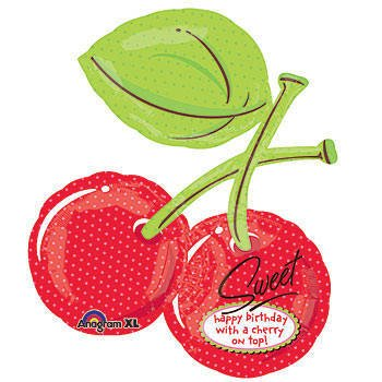 Cherry Shaped Birthday Mylar Balloon