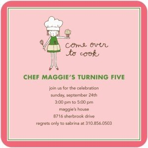 Girls Cooking Party Invitation