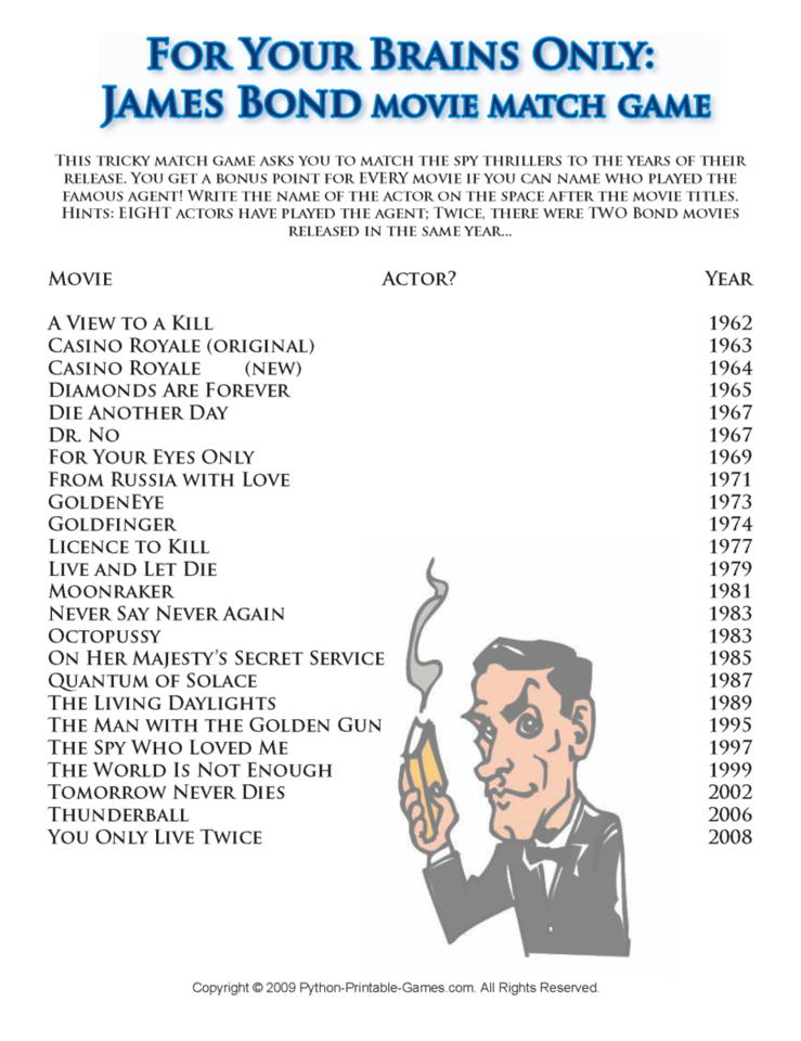James Bond Movies in Order Trivia Game
