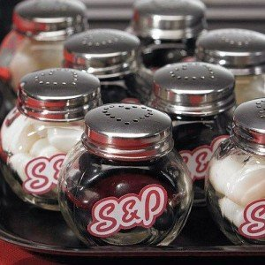 Mini candy jar salt and pepper shakers party favors