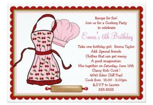 cherries apron and chef hat birthday invitations
