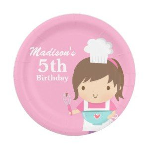 Cute Baker Chef Girl Cooking Baking Birthday Party Paper Plates