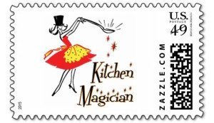 kitchen magician retro cooking stamp