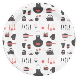 Cute Red and Black, Vintage, Retro 9 Inch Paper Plate