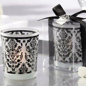 Damask Glass Tealight Holders