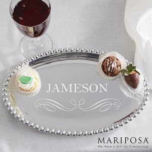 String of Pearls Personalized Oval Tray