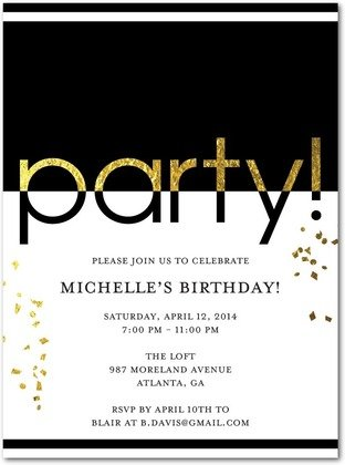 glam party invitations