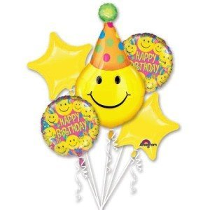 Happy Face Balloon Bouquet, Smiley Face. Happy Face Party Balloons