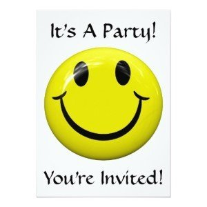 It's A Smiley Party! Invitation,Smiley Face. Happy Face Party Invitations