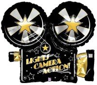 Lights camera action mylar balloon