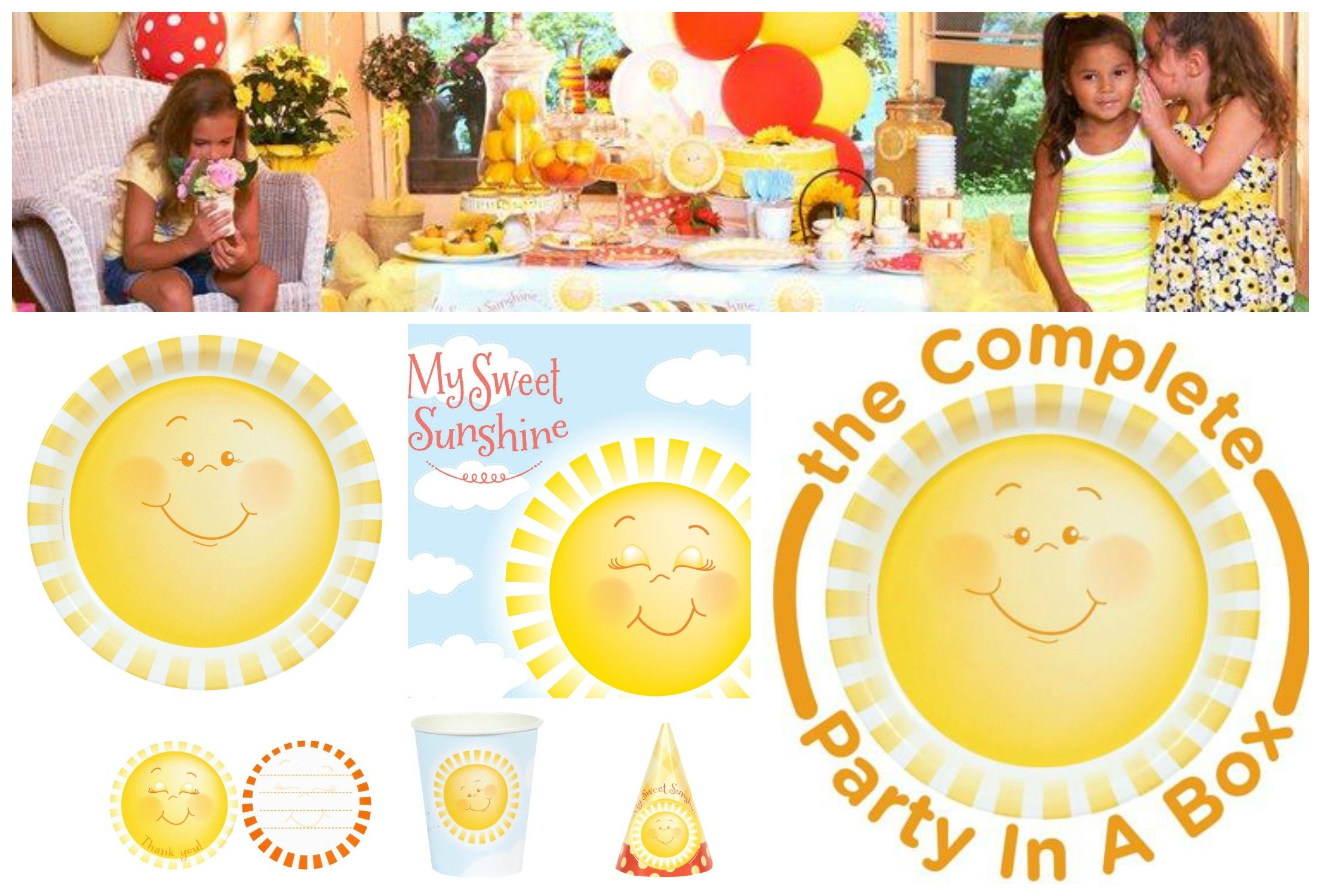My Sweet Sunshine Smiley Face Party in a Box, Smiley Face. Happy Face Party Supplies