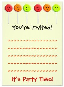 Sweet Lollipop Happy Faces Invitations