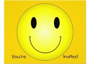classic yellow smiley custom invitations, Be Happy Bouquet, Smiley Face. Happy Face Party Invitations