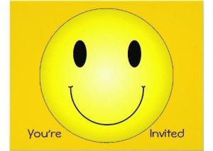 classic yellow smiley custom invitations, Be Happy Bouquet, Smiley Face. Happy Face Party Invitations