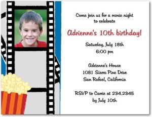 movie night photo birthday party invitations