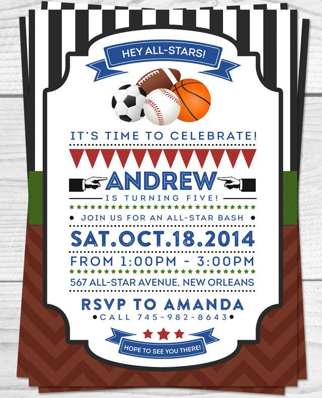 All-Star Sports Printable Birthday Invitation