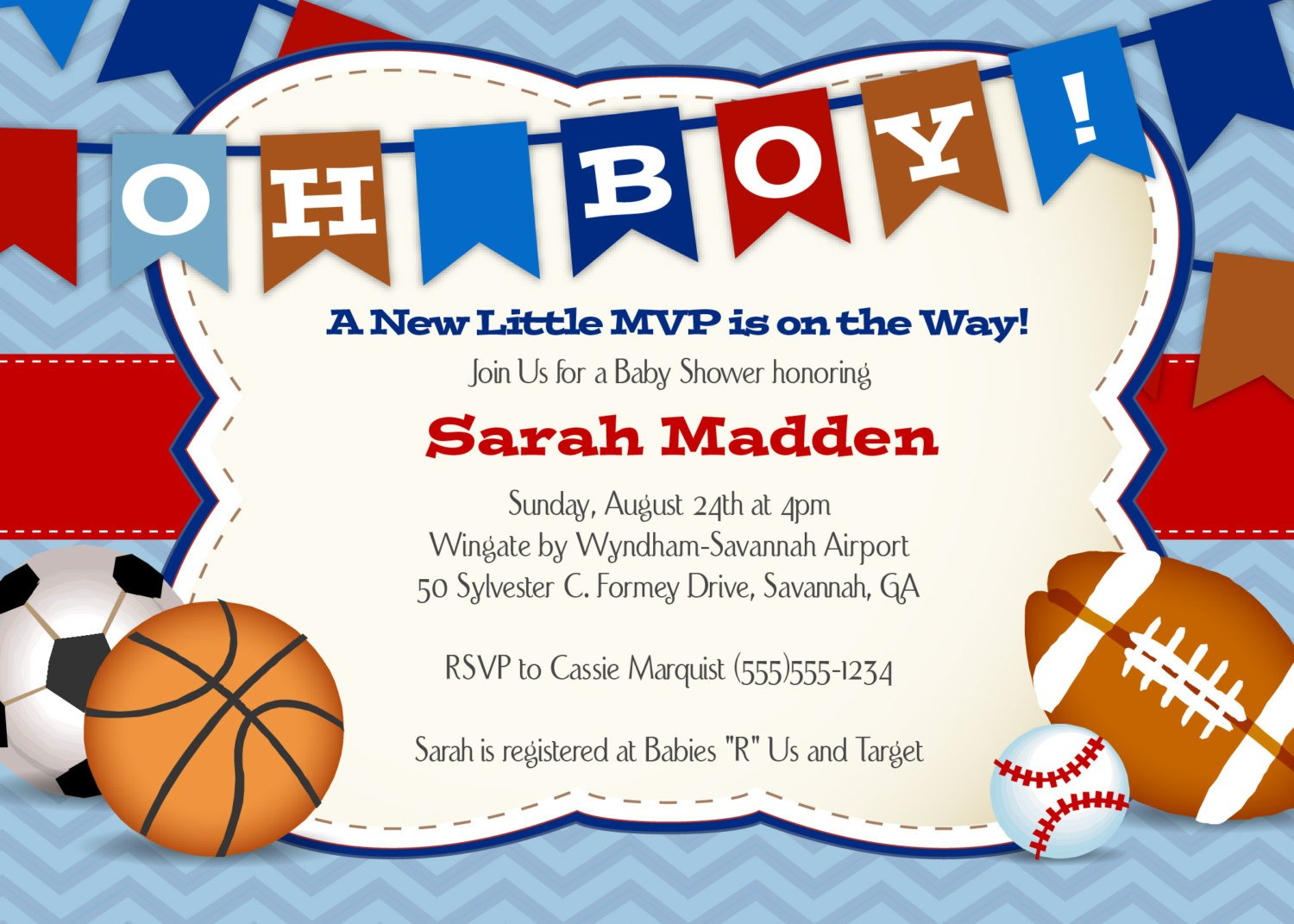 All sports printable baby shower invitations