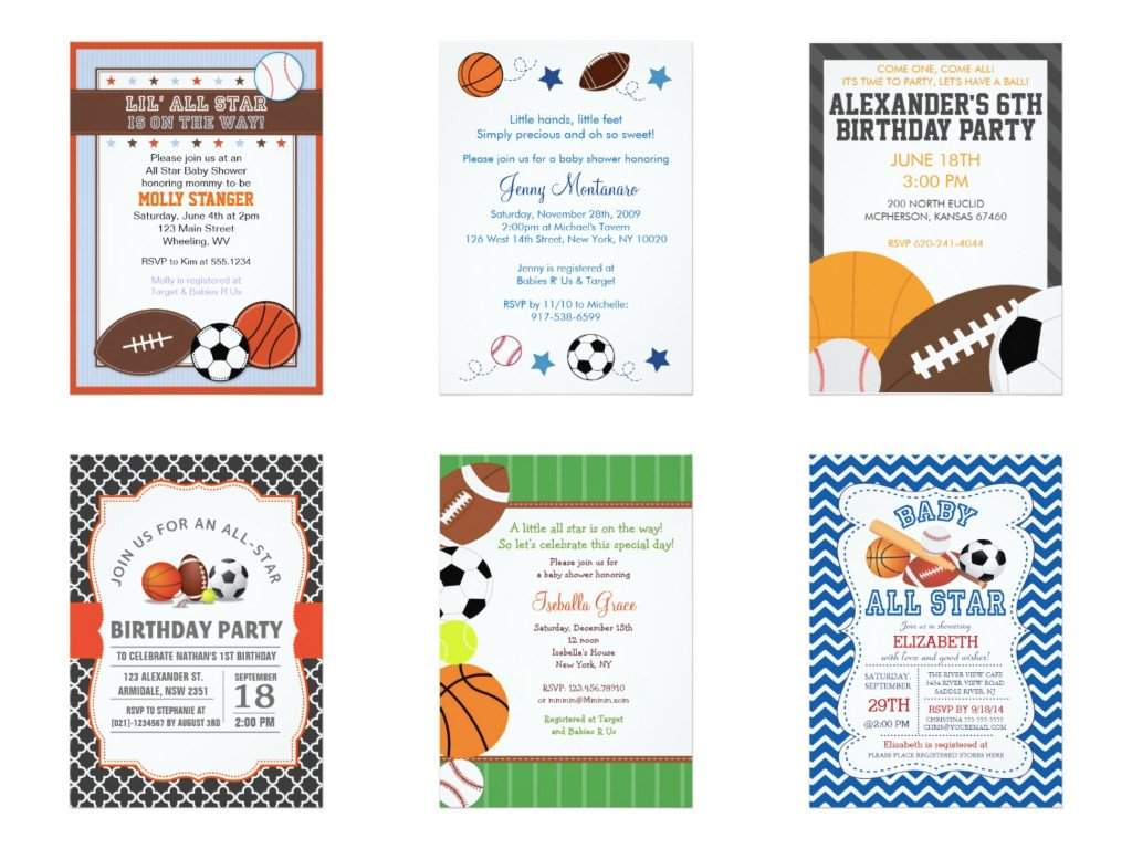 All Sports Birthday Baby Shower Invitations