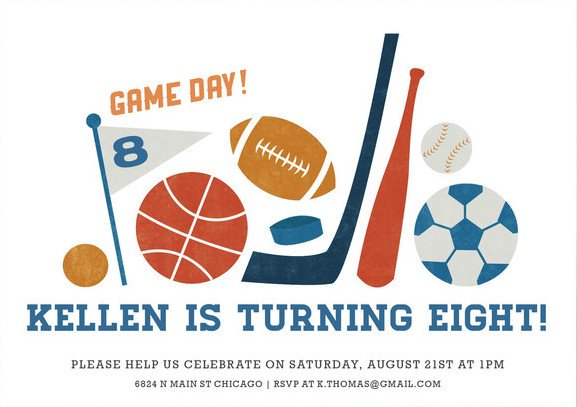 Game Day Children's Birthday Party Invitations