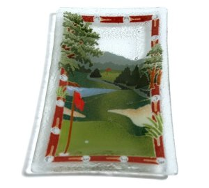 Handcrafted Art Glass Golf Course Serving Tray