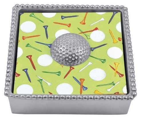Mariposa Golf Ball Beaded Napkin Box
