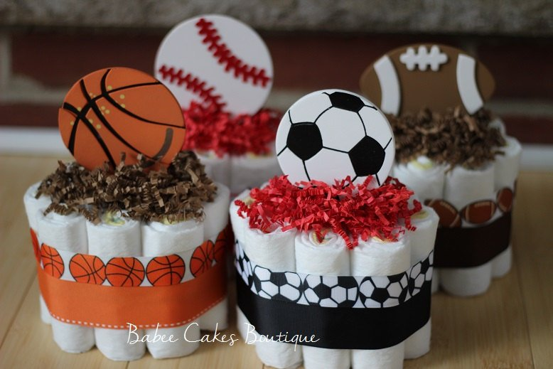 Mini Sports Diaper Cakes Sports Theme Baby Shower Centerpieces