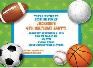 Sports Party Personalized Invitation