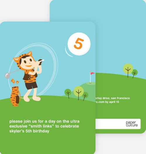Tiger Golf Birthday Party Invitations