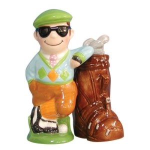 Magnetic Golfer and Clubs Salt and Pepper Shaker Set