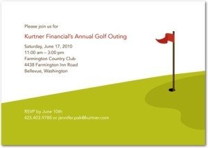 putting green corporate event invitations