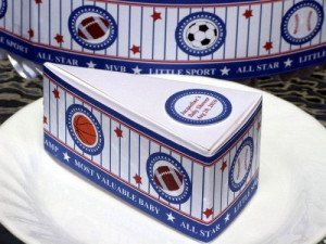 sports theme favor cake boxes and centerpiece