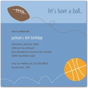 sporty fun birthday party invitations