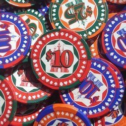 Chocolate Poker Casino Chips in Mesh Bags