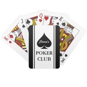 Custom poker playing cards with Ace of spades
