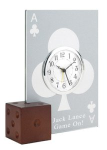 Glass Poker Card Alarm Clock with Dice