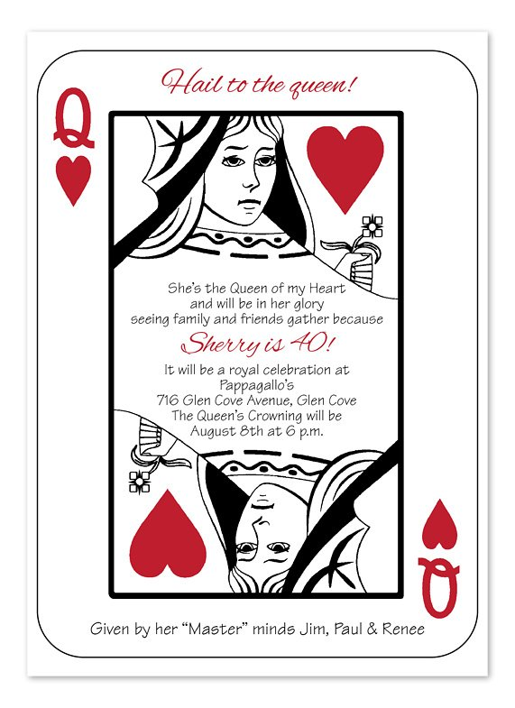 Card Game Party, HAIL TO THE QUEEN Party Invitation