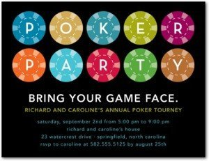 Card Game Party. Poker Chips - Party Invitations in Black