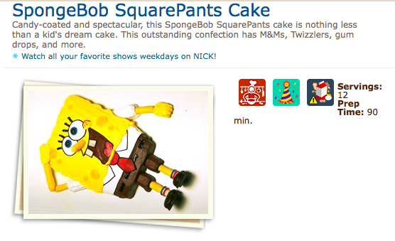 SpongeBob SquarePants Cake Recipe