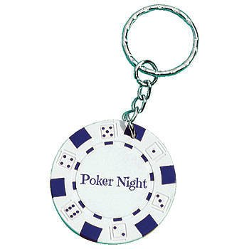 White Poker Chip Key Tag