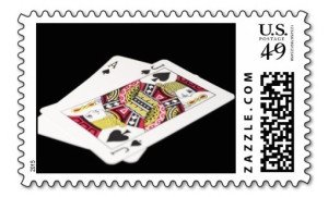 blackjack hand postage stamp