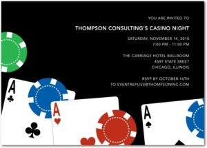 Card Game Party, three aces invitations