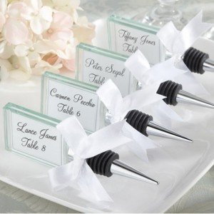Glass Bottle Stopper Place Card Holder