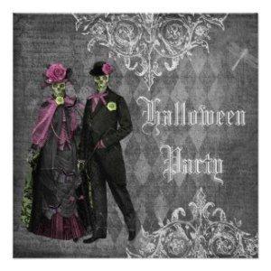 elegant glamorous skeletons halloween party invitation