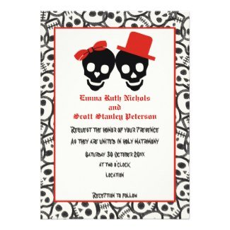 skulls halloween red black invitation