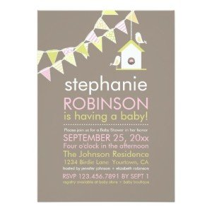 Birdhouse and Bunting Baby Shower Invitations
